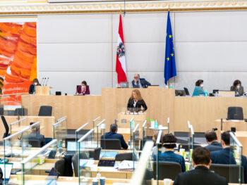 Fiona Fiedler spricht im Parlament